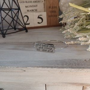 Rustic silver cuff bracelet she believed she could